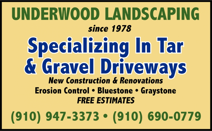 Specializing In Tar Amp Gravel Driveways Underwood Landscaping